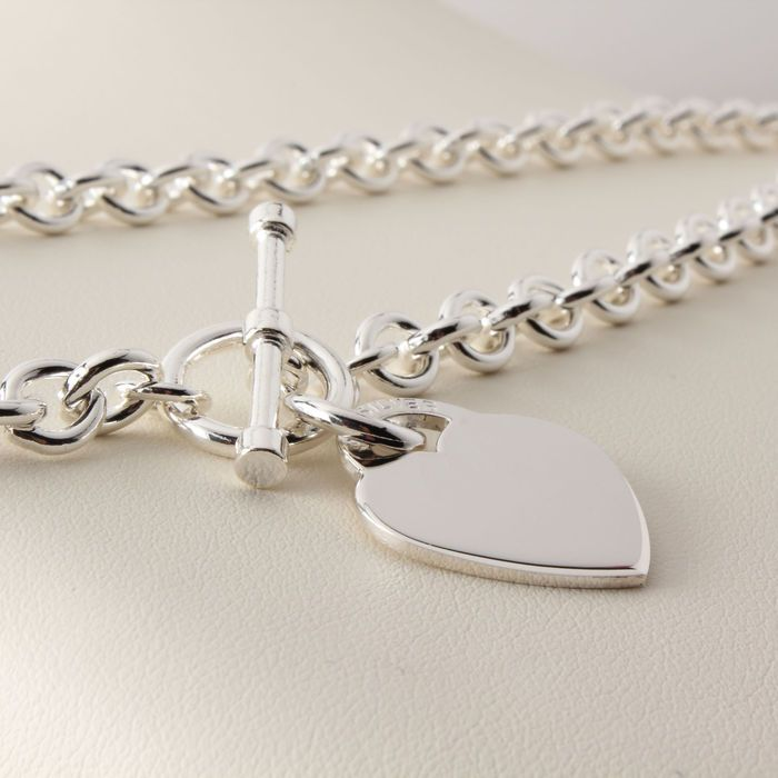 27fa28005ba Heart Tag T-Bar Silver Necklace | Silver Necklaces from Silvertime ...