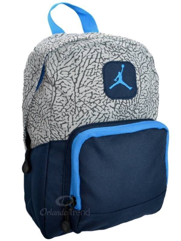 Nike Air Jordan Backpack Gray Black Blue Toddler Preschool Boy Girl Small  Mini… 845fddb37efc2