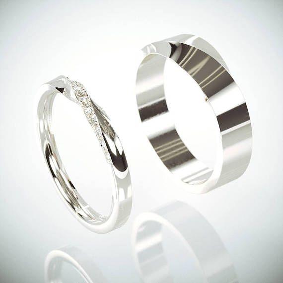 14k Rose Gold Mubius Rings Set La s ring set with Diamonds