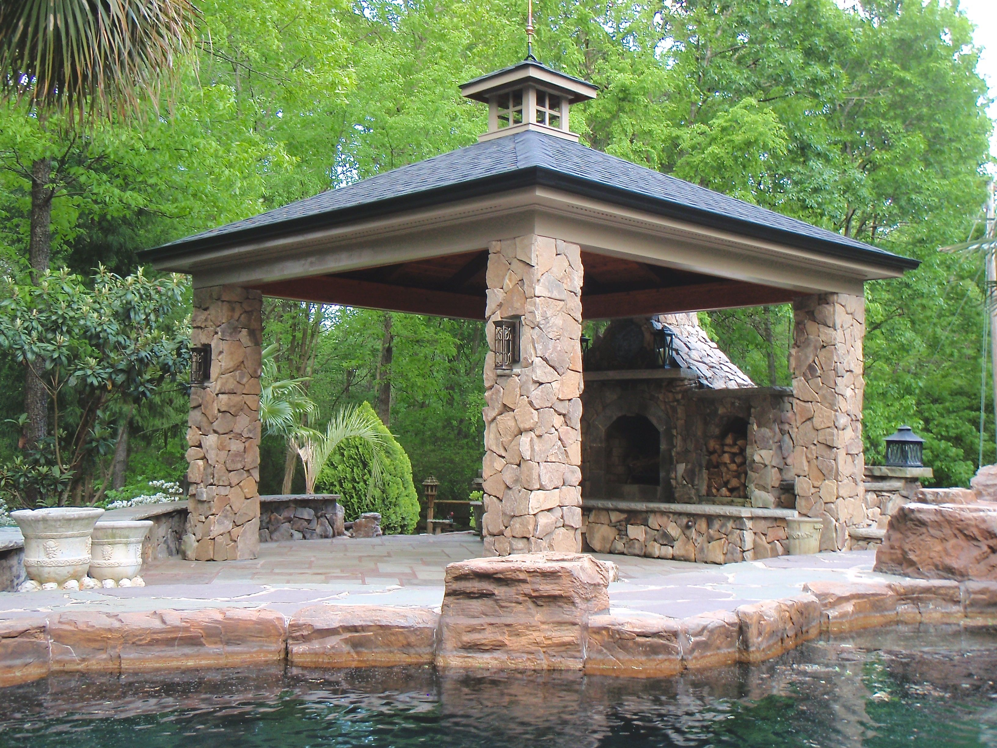 pavilion with stone columns and stone fireplace shed pinterest