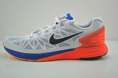 new arrival 9f824 ce711 Mens Nike Lunarglide 6 Running Shoes Size 8 White Blue Black Orange 654433  101
