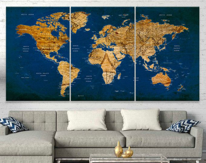 Browse unique items from worldmapprint on etsy a global marketplace extra large watercolor wall art world map canvas prints by worldmapprint gumiabroncs Gallery