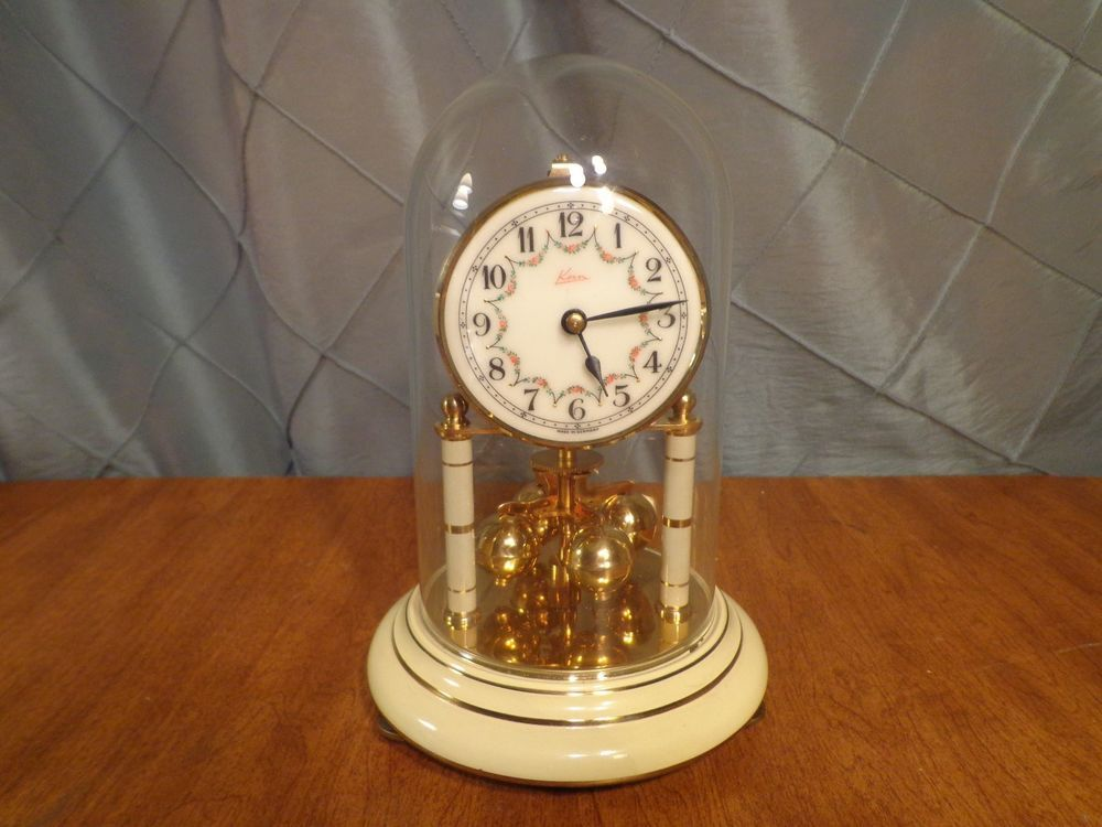 rare vintage kern 400 day dome case anniversary clock with porcelain face