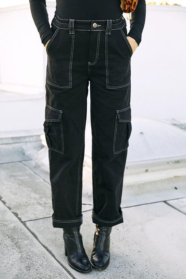BDG High-Waisted Contrast Stitch Skate Jean – Blac