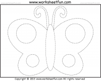 butterfly tracing and coloring 4 preschool worksheets preschool worksheets letter tracing. Black Bedroom Furniture Sets. Home Design Ideas