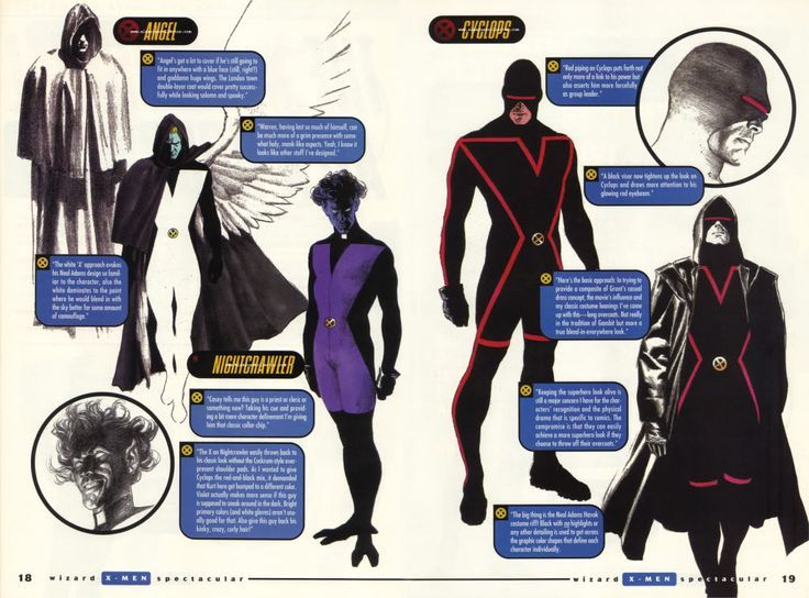 Design conceitual x-men Anjo, Kurt e Ciclope