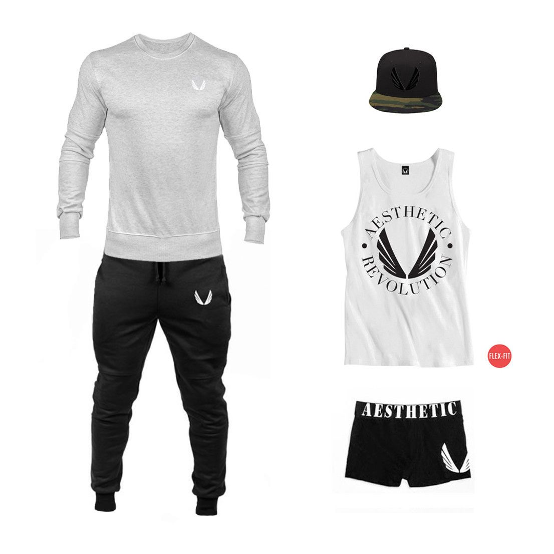Black Cuffed Joggers - Grey Fitted Crew Neck - Black/Camo SnapBack - White Wings Logo u0026quot;FlexFit ...