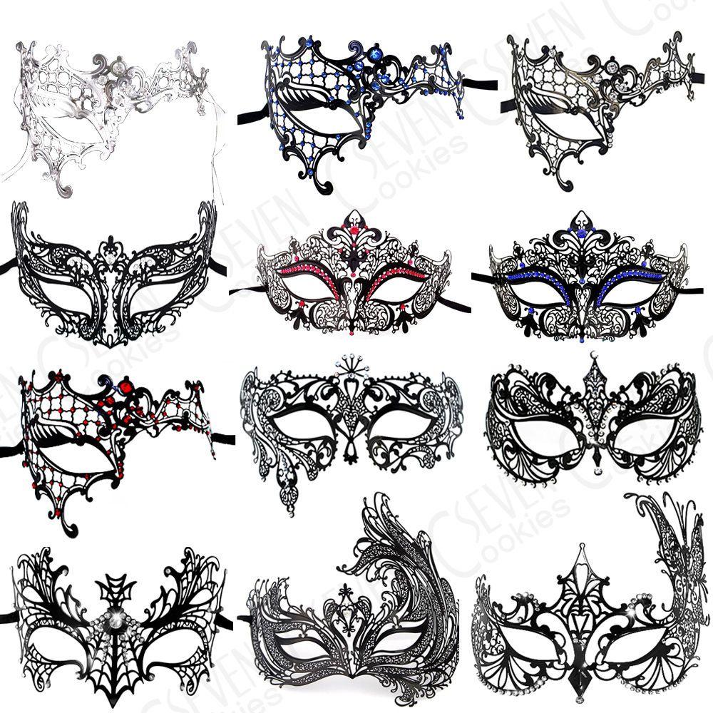 Details about uk black filigree venetian masquerade metal mask ball