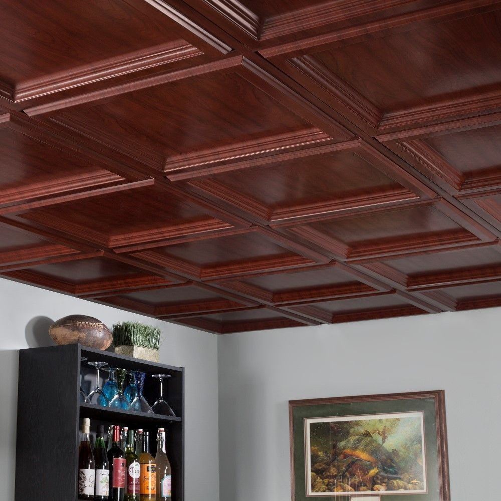 Fasade classic coffer cherry 2 foot square lay in ceiling tile ceiling tiles for less dailygadgetfo Gallery