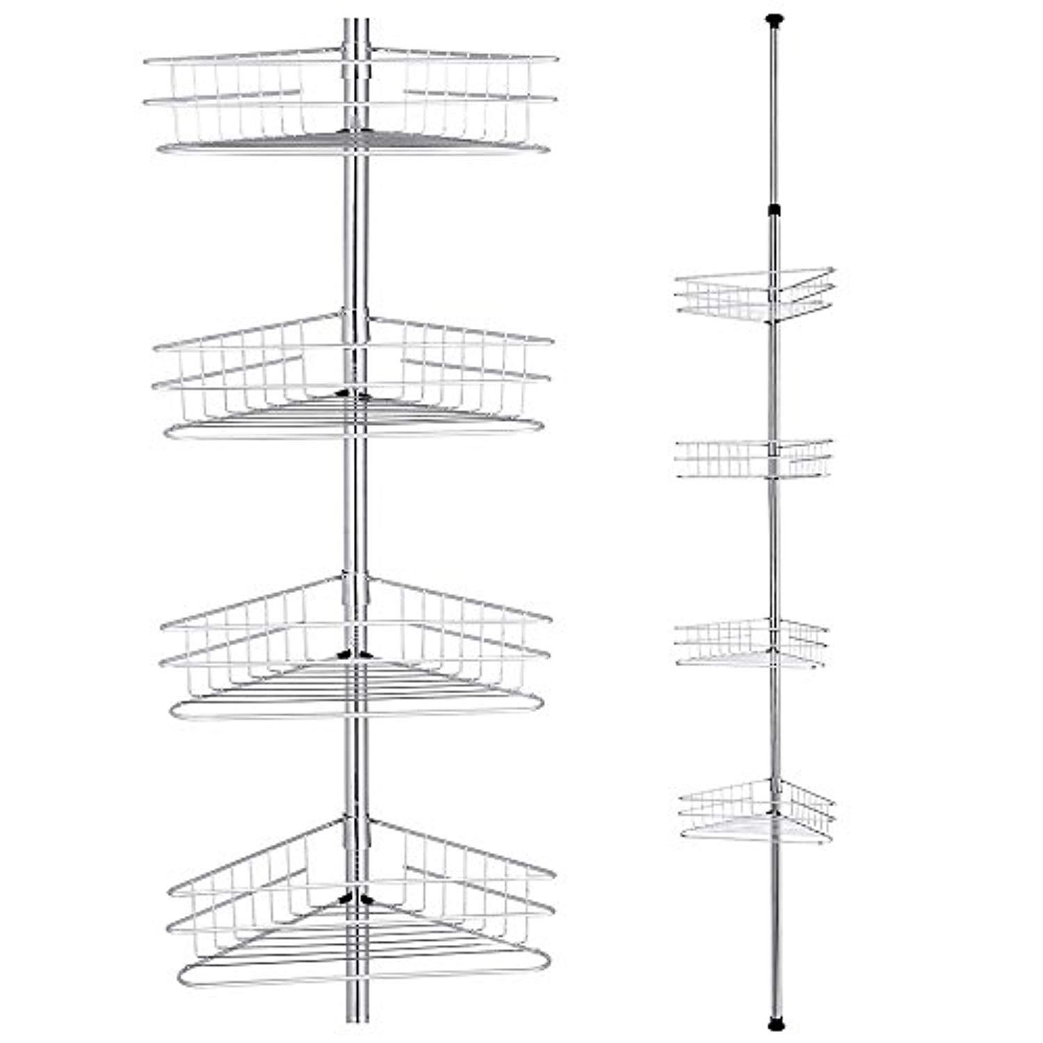Yescom 4 Tier Metal Bathroom Telescopic Corner Shower Shelf Caddy Pole Wall Rack Storage Organizer Soap Holder Shower Shelves Shower Rack Metal Bathroom Shelf