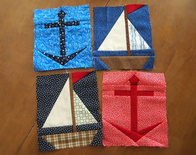 Sailboat + Anchor paper pieced quilt patterns by ProtoQuilt ...