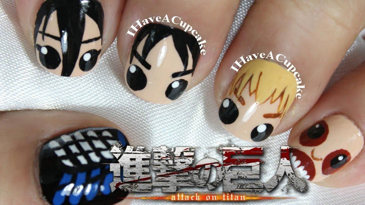 Attack on titan nail art from ihaveacupcake on youtube