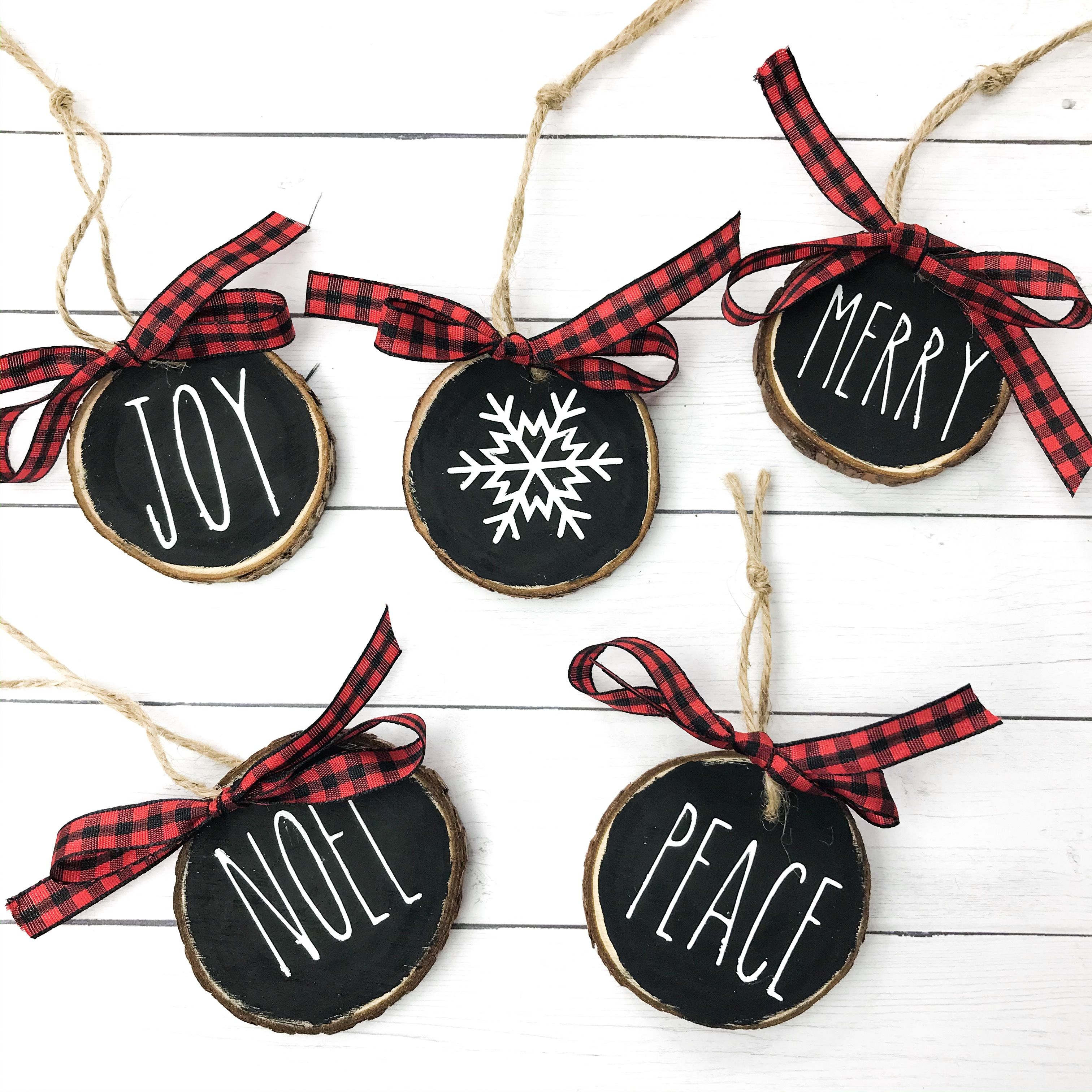 Rae Dunn Inspired Wood Slice Ornaments Christmas Crafts To Sell Christmas Ornament Crafts Diy Christmas Gifts