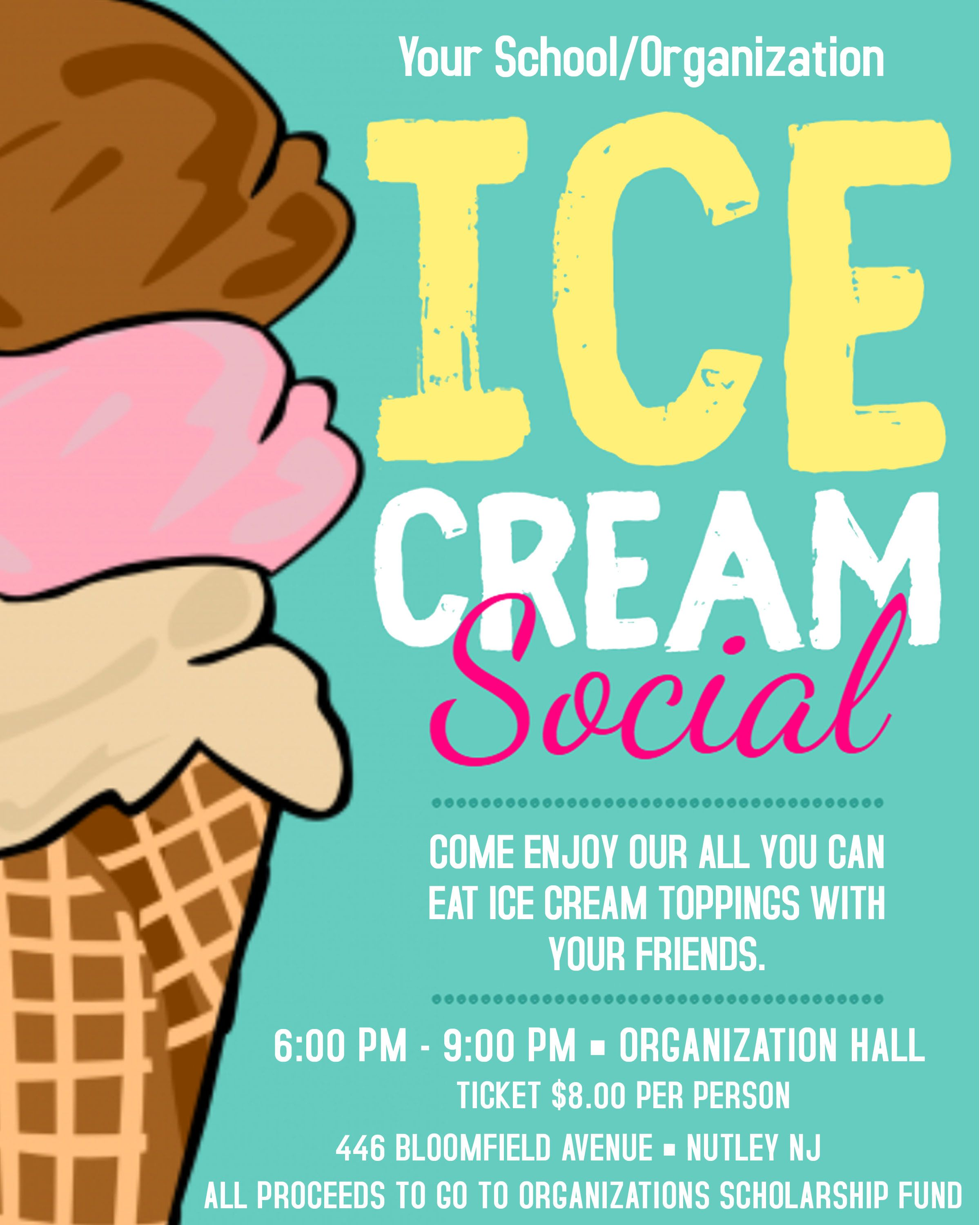 Ice Cream Social Flyer Template Editable Event Flyer Poster Instant Download Psd File Blank Jpeg Background Ice Cream Social Invitations Ice Cream Social Ice Cream Social Party