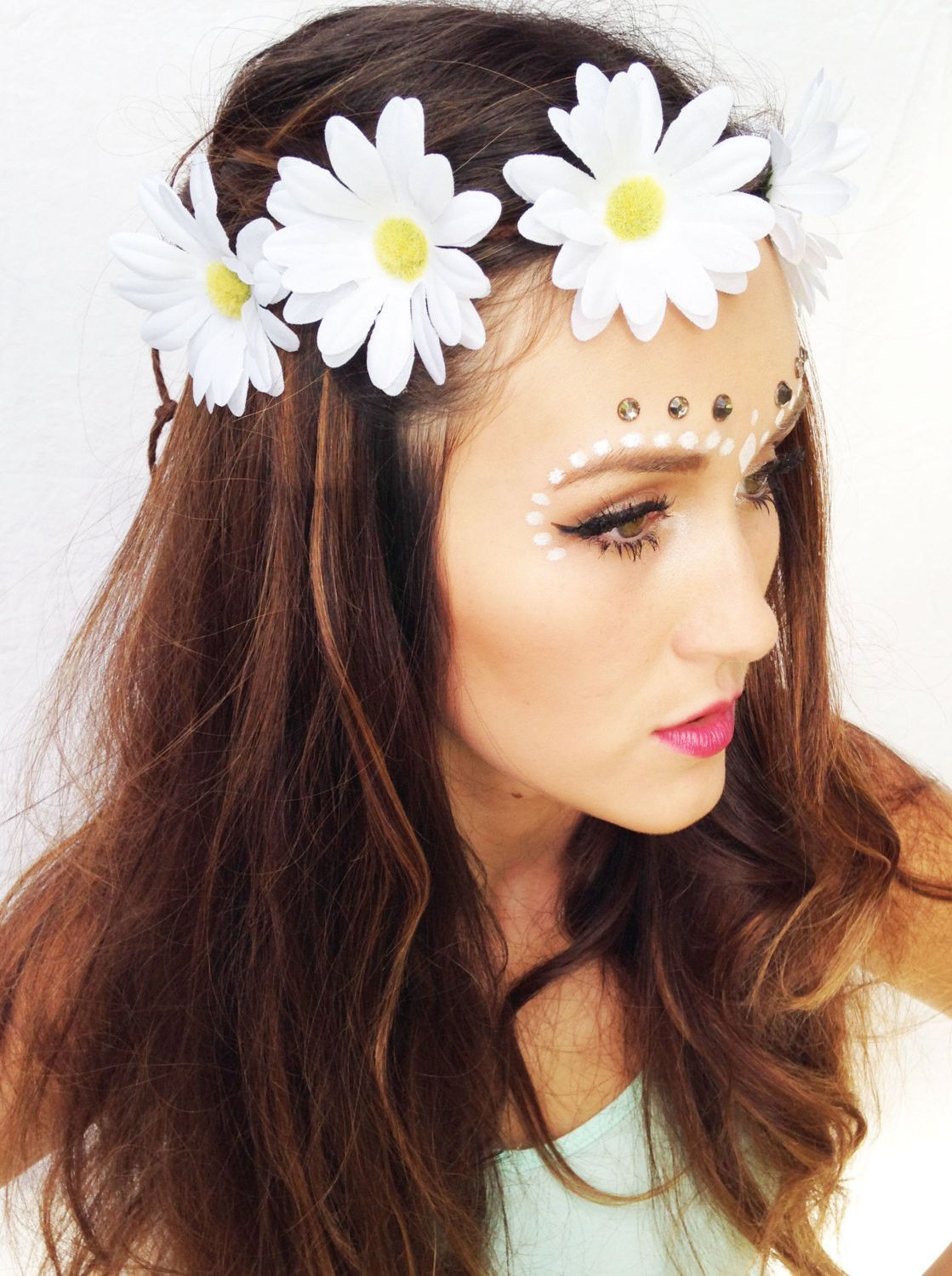 White Daisy Flower Crown Products Pinterest Products