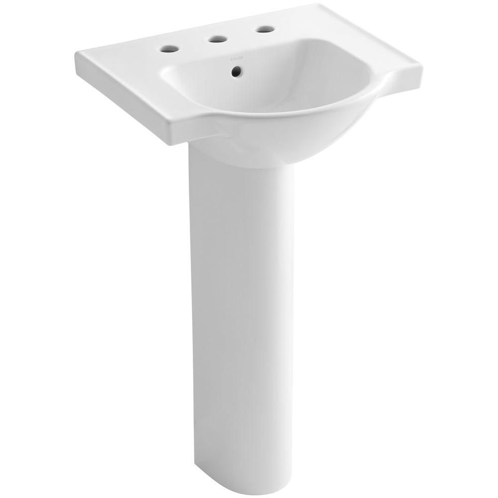 Kohler Veer Vitreous China Pedestal Combo Bathroom Sink In White
