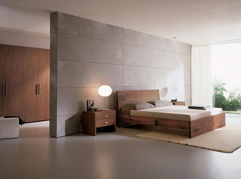 Bedroom uses limited color to create a tranquil space
