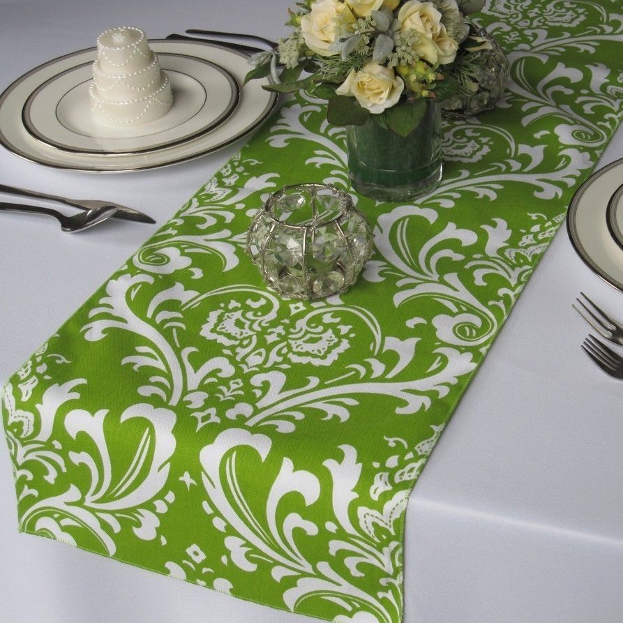 Superieur Traditions Green And White Damask Table Runner By Floratouch, $12.00