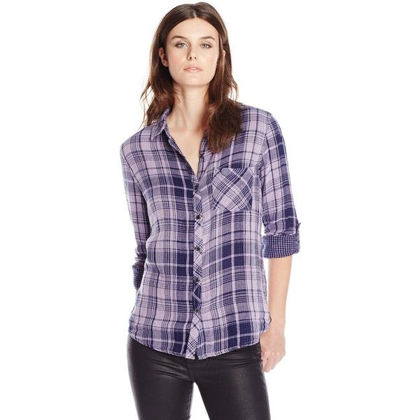 Seven7 Women's Plaid Roll-Sleeve Button Down Shirt with One Pocket ($52) ❤  liked on Polyvore featuring tops, plaid top, purple plaid shirt, ...