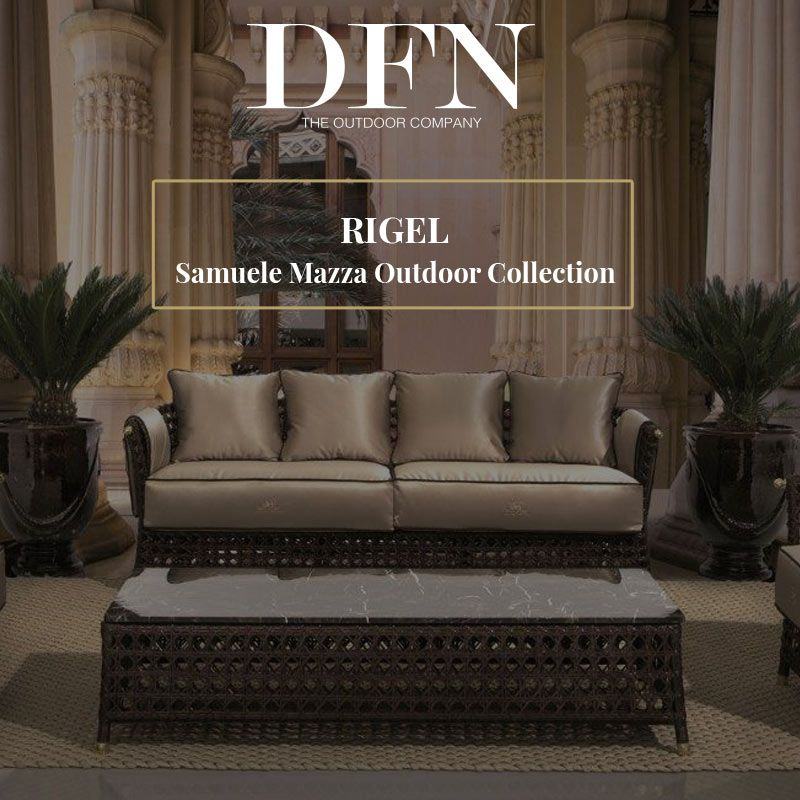 RIGEL Lounge By Samuele Mazza Outdoor Collection. Luxury Outdoor Furniture  With Frame In Natural Rattan
