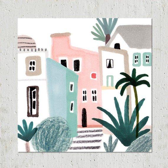 Casas Giclée Bellas Artes Imprimir Ilustración Imprimir | Etsy
