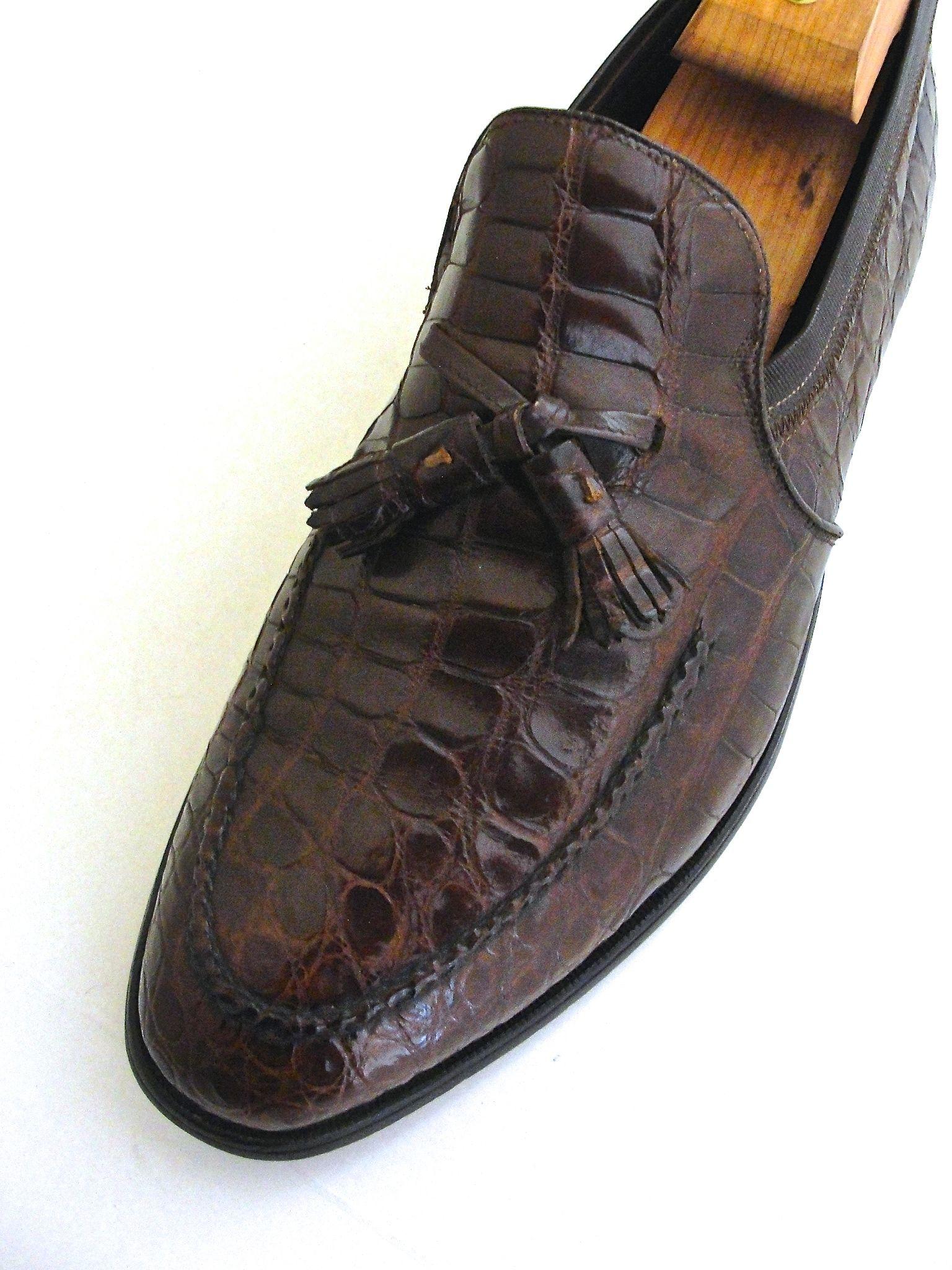 af3c91bd63bf7a Genuine Crocodile Tasseled Loafer