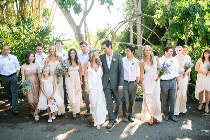 Bridesmaid Dresses In Neutrals Champagne Beige And Pale: I Like The Colors Beige Bridesmaids With Grey And White