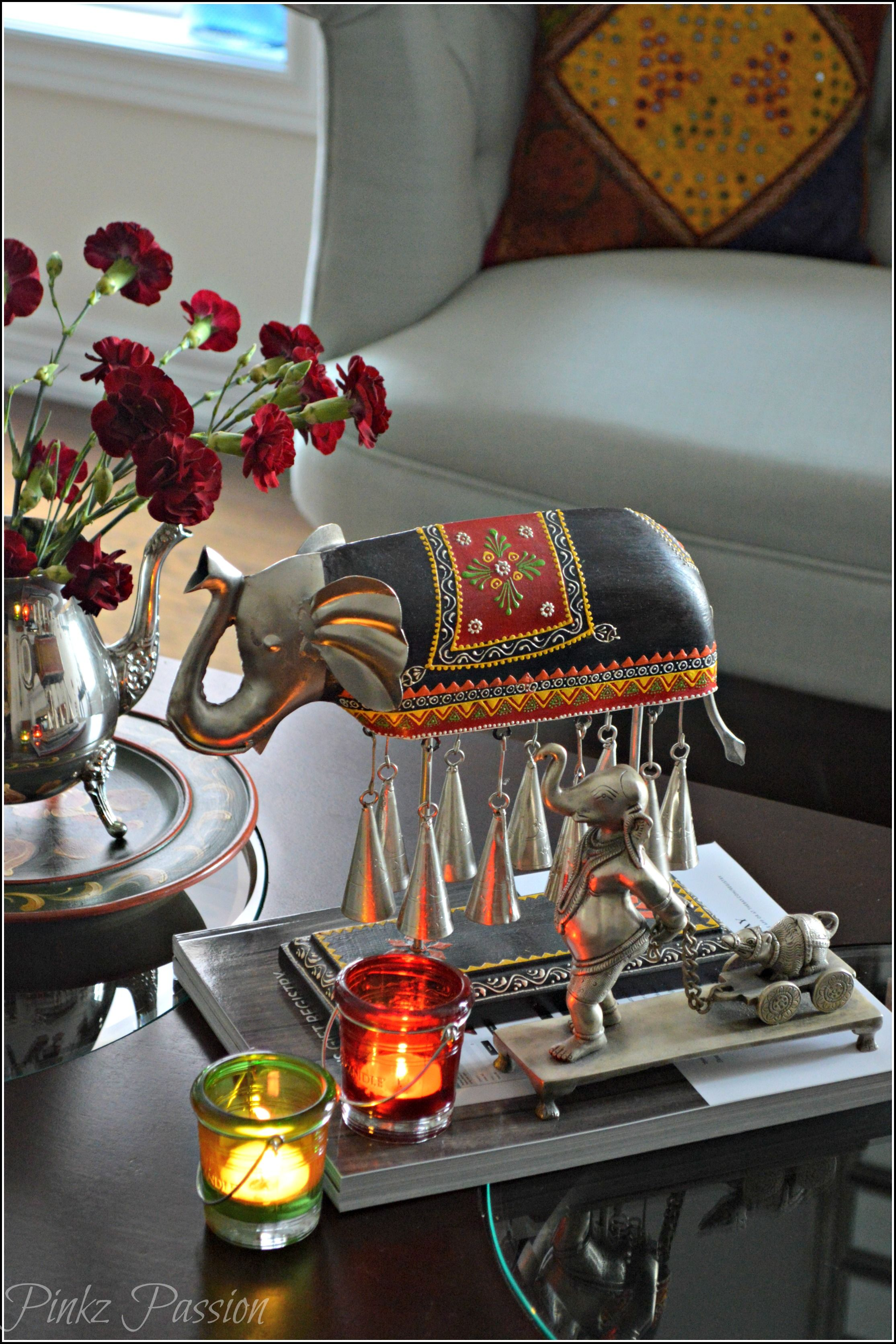 Home Deocr, Indian Inspired Decor, Silver Vignette, Silver Coffee Table