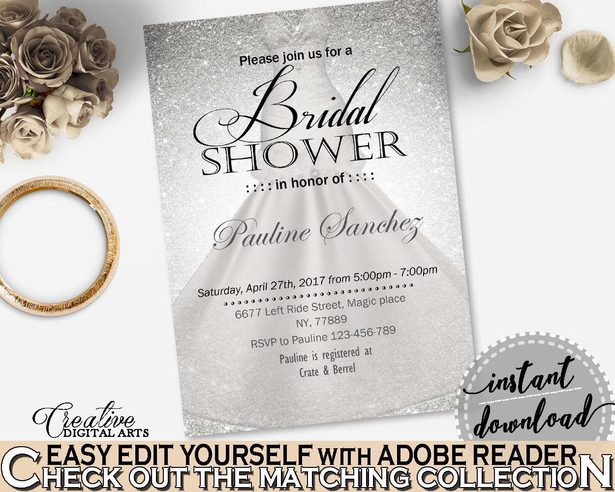 Editable Bridal Shower Invitation In Silver Wedding Dress Bridal