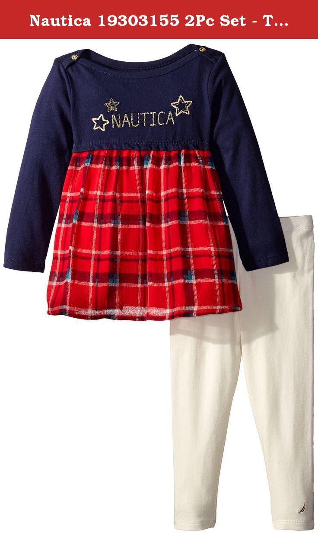 Nautica Baby Girls Fashion Top w//Legging 2 Piece Set,Navy Lace