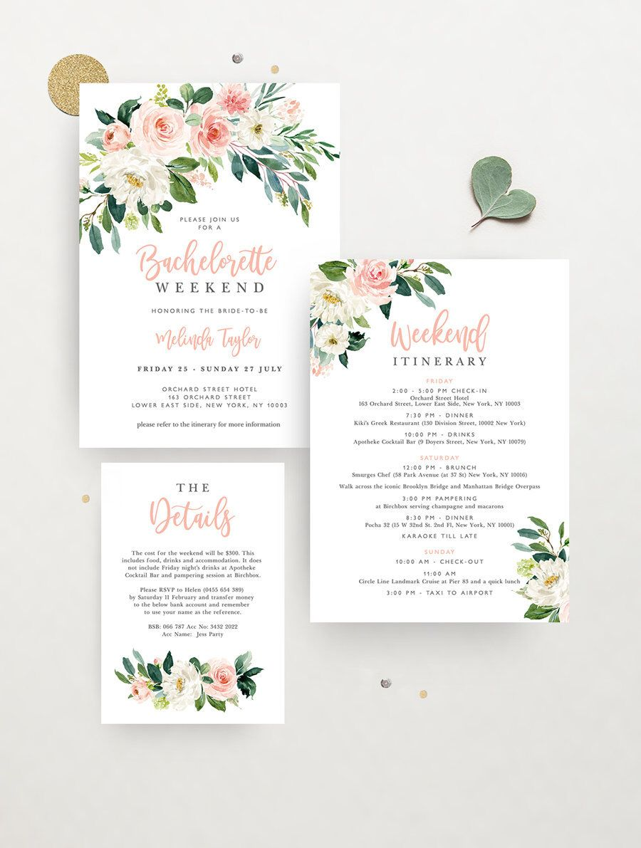 Details Printable Templett invites Hens party invitations Editable DIY templates Boho HENS weekend itinerary Black and white