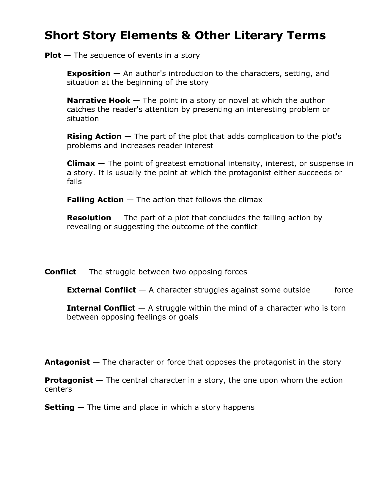 Worksheets Literary Terms Worksheet elements of literature setting short story other literary terms