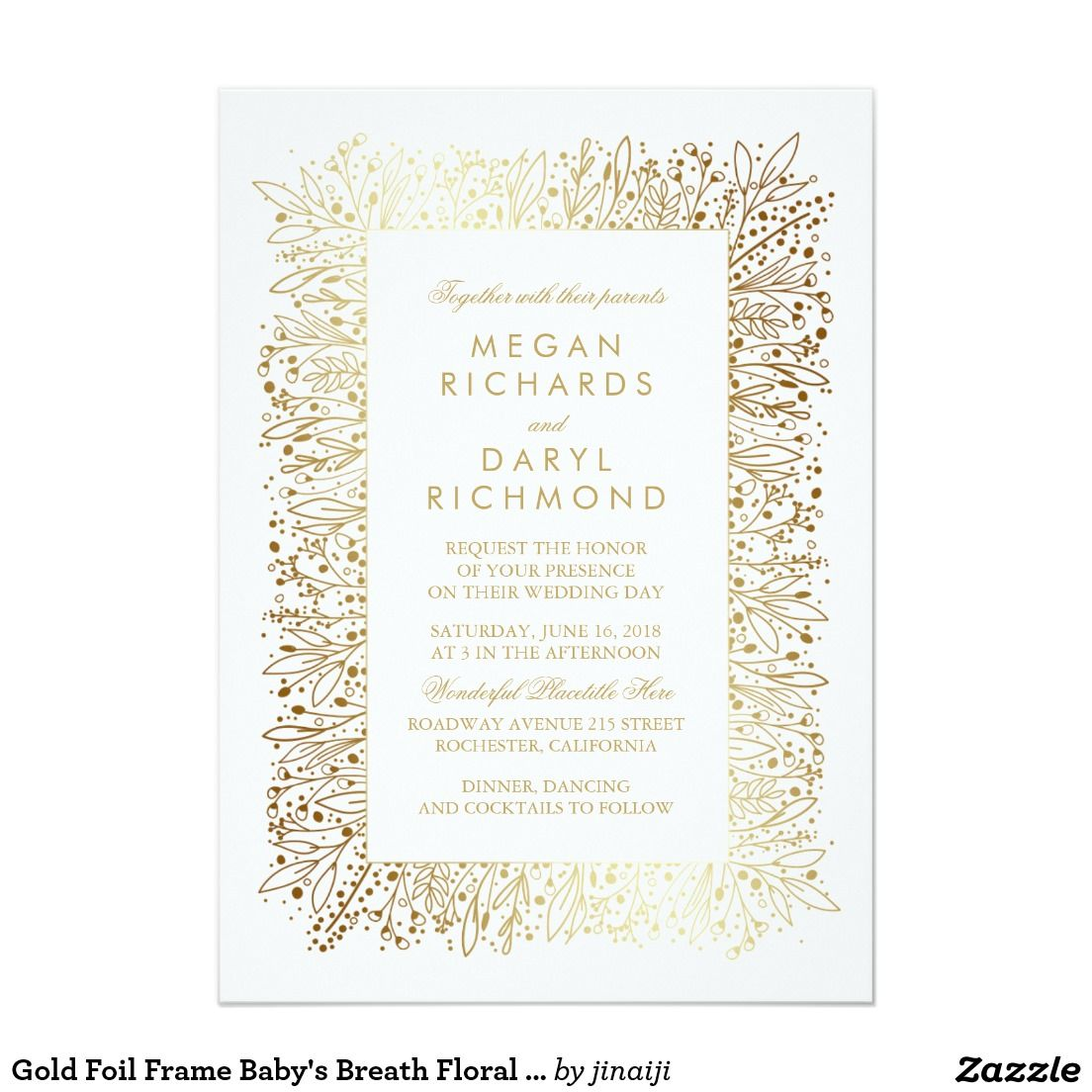 Gold color cardstock paper 5x7 - Gold Foil Frame Baby S Breath Floral Wedding 5x7 Paper Invitation Card