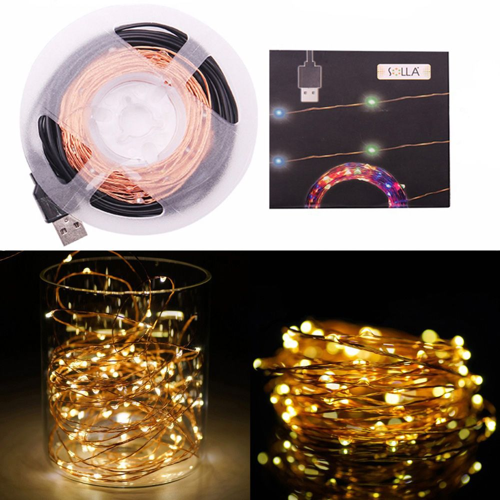 Cheap String Lights Gorgeous 10M 33Ft 100 Led 5V Usb Outdoor Warm Whitergb Led Copper Wire