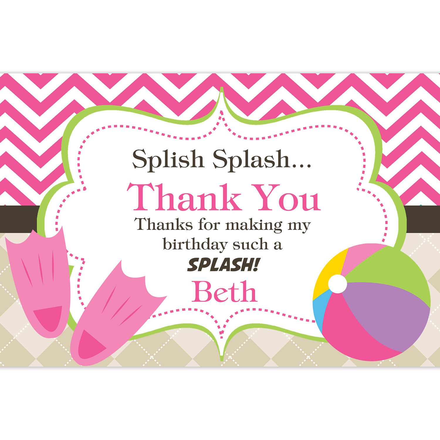 Pool Party Thank You Card Hot Pink Chevron and Tan Argyle Beach