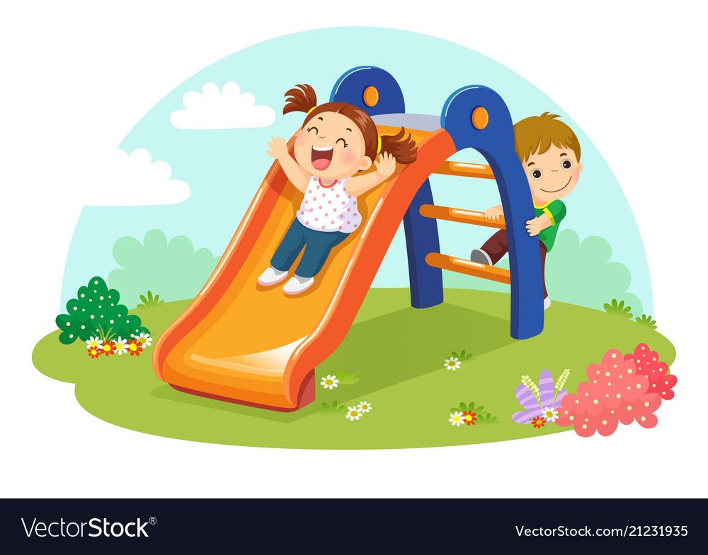 Cute Kids Having Fun On Slide In Playground Vector Image On Vectorstock Cute Kids Kids Background Kids Clipart