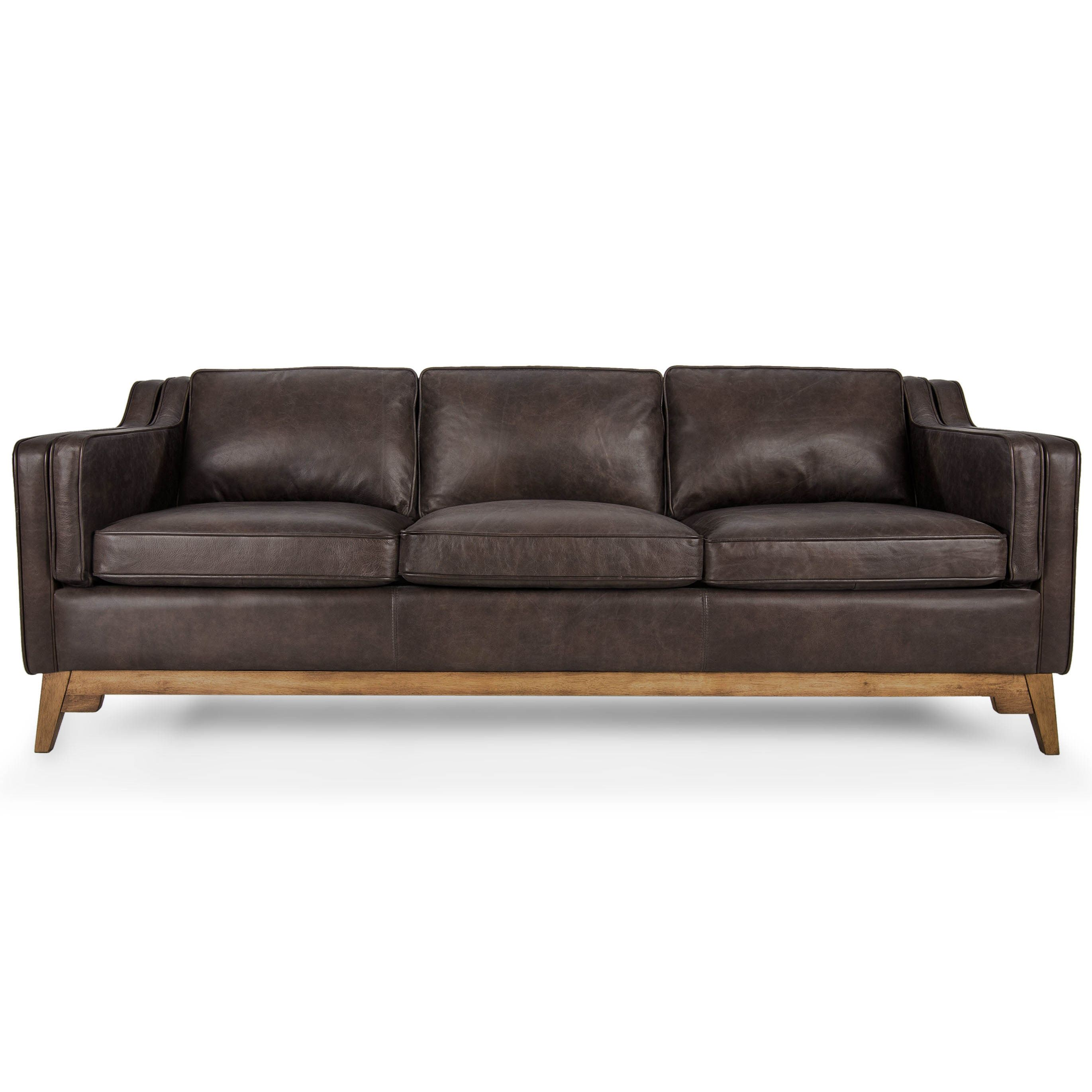 Brown Leather Sofa  Upholstered - Article Worthington Modern Furniture