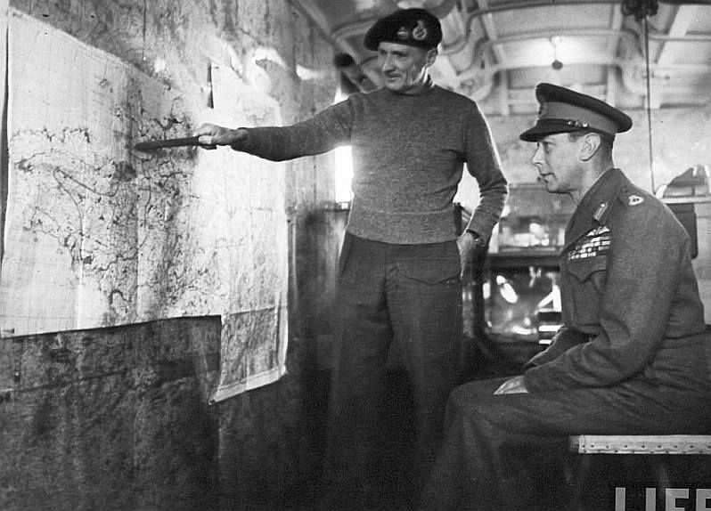 Field Marshal Montgomery briefing the King of England
