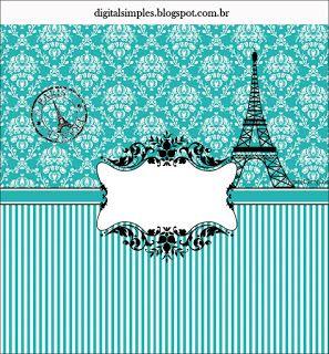 KIT PARIS TIFFANY GRATUITO PARA IMPRIMIR - Convites Digitais Simples