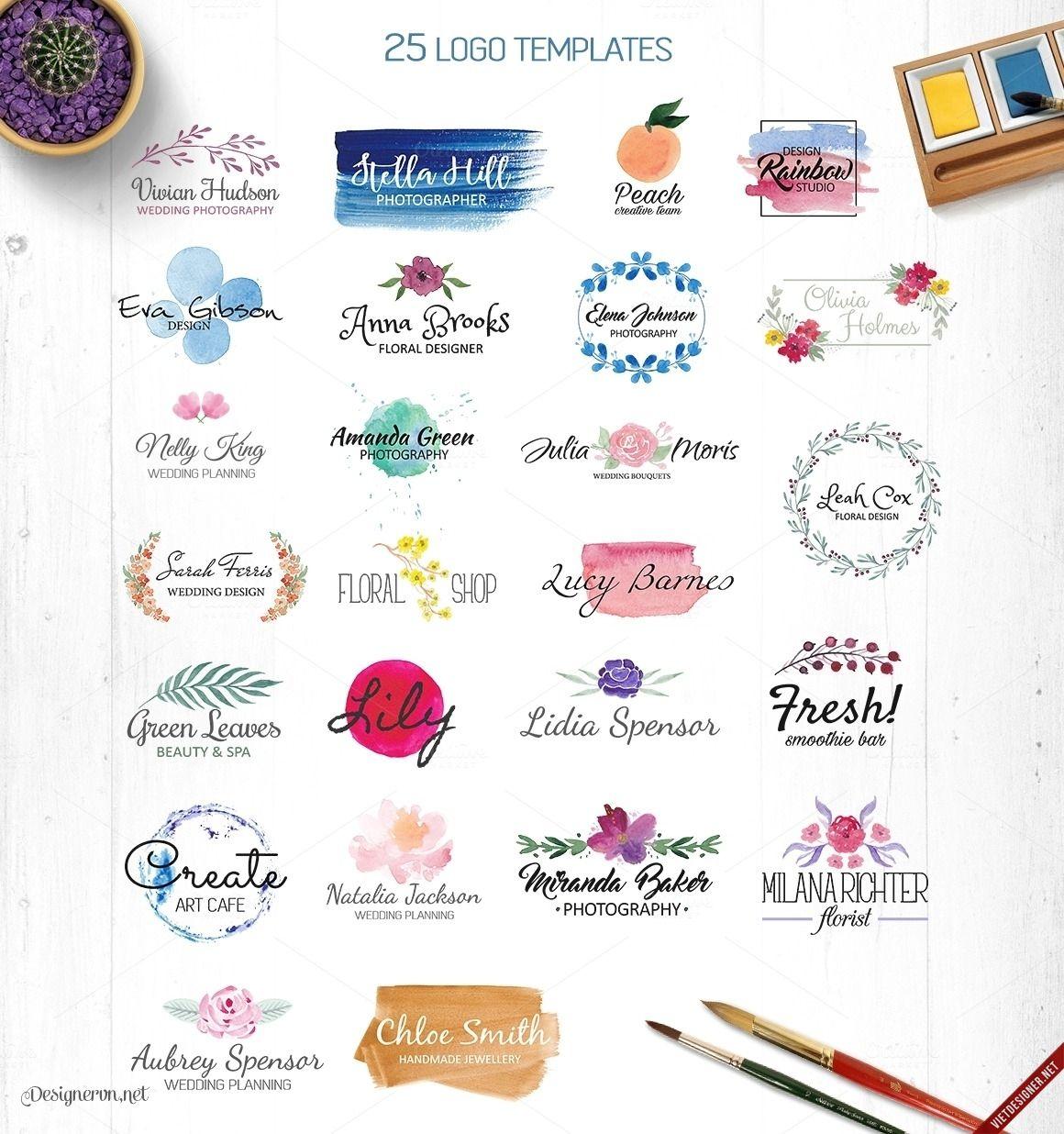 Share 25 bộ logo template phong cách màu nước độc lạ Màu