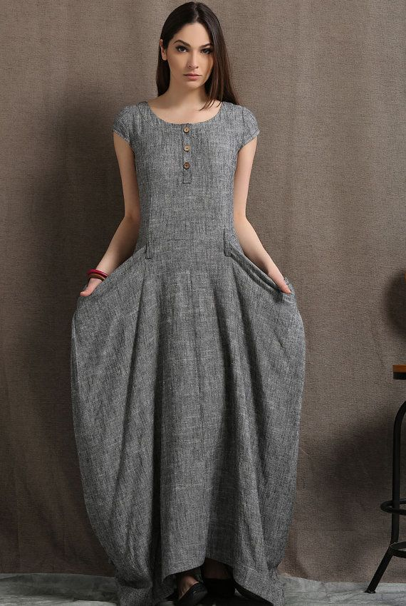 533949b8c2 Gray Linen Dress - Long Maxi Boho Style Short Sleeved Shift Dress with Two  Large Pockets Spring Summer Fashion (C427)