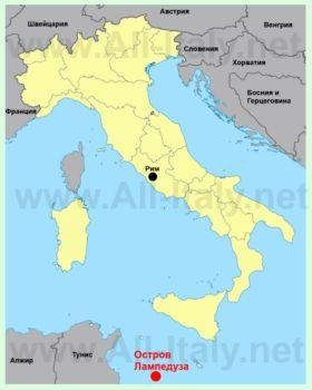 Ostrov Lampeduza Na Karte Italii Triest Sorrento Italiya