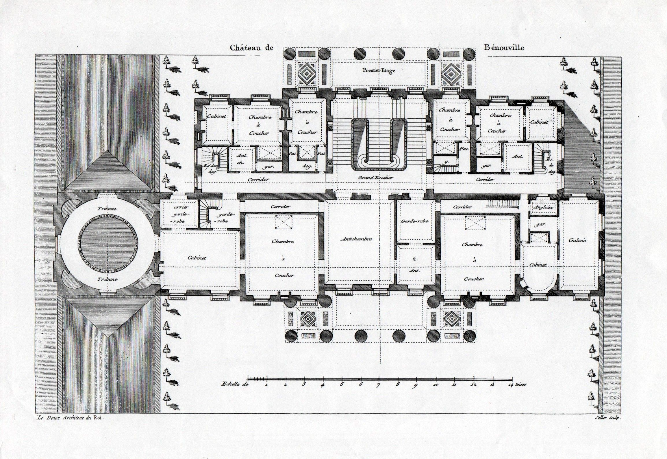 The First Principal Bedroom Floor Plan Of The Neoclassical Chateau De Benouville Designed By Claude N Architectural Floor Plans House Floor Plans Floor Plans