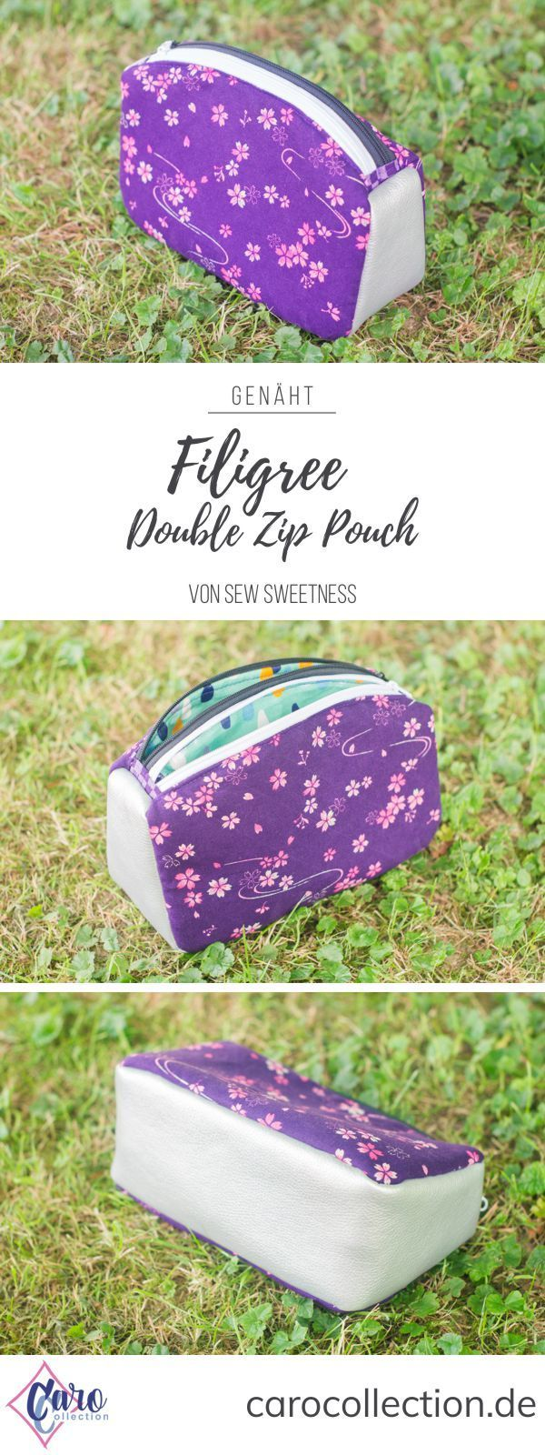 Filigree Double-Zip Pouch von Sew Sweetness | Taschen nähen ...