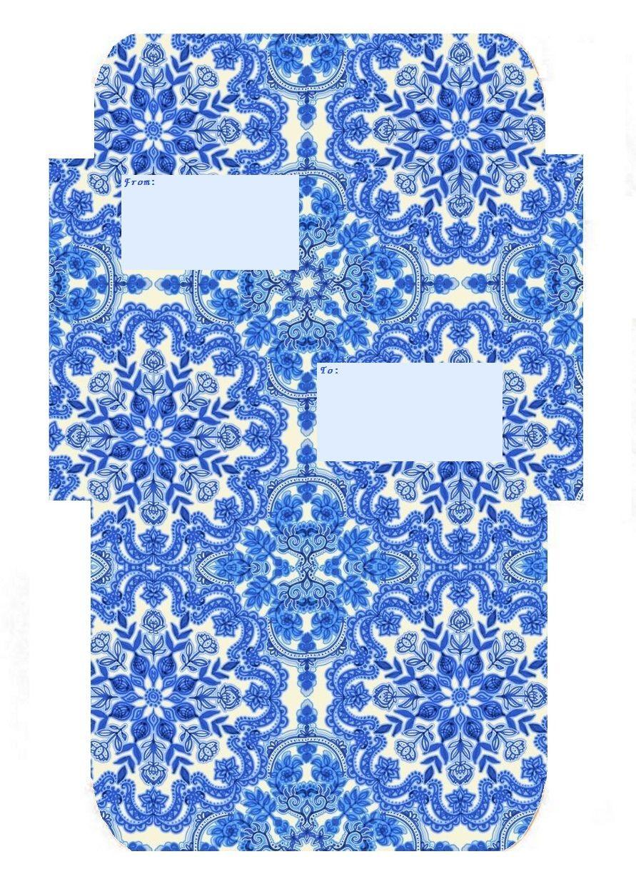 Label Version Blue Delft Mail Envelope Template Free Printable