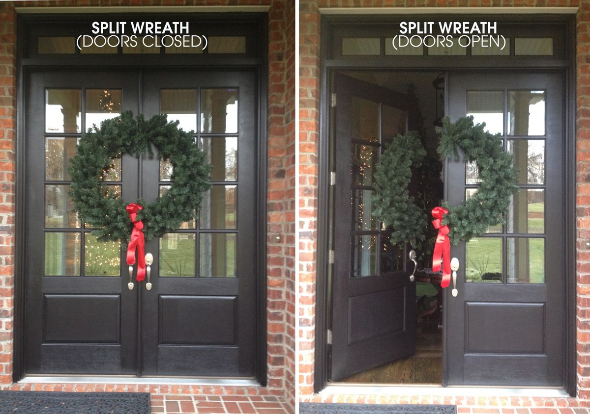 Split Wreath Before After 3 Christmas Wreath Christmas Door Decorations Double Door Wreaths Christmas Door