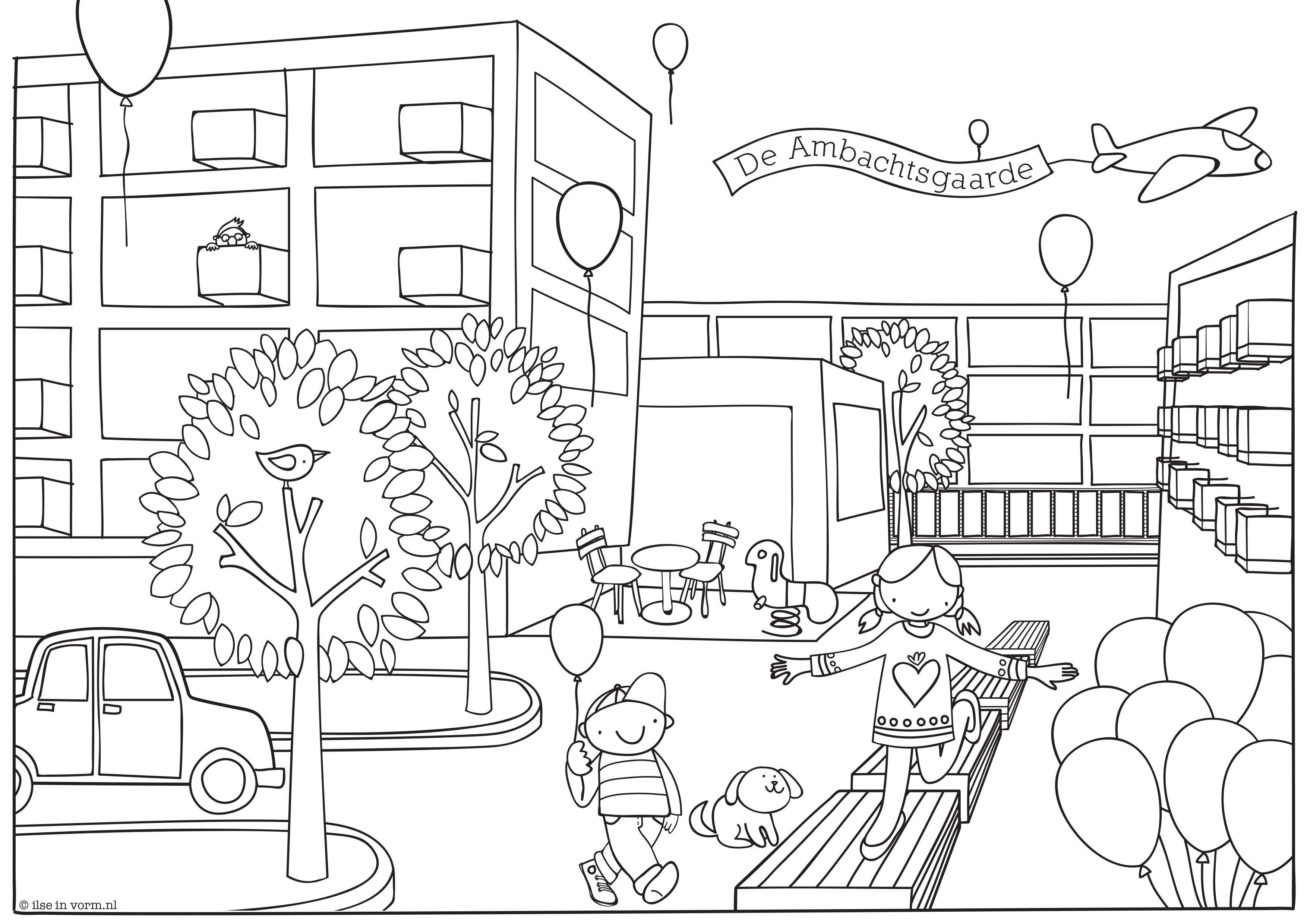 Kleurplaat Voor Feestelijke Opening Vernieuwd Winkelcentrum Ambachtsgaarde Den Haag Kleurplaten Illustraties