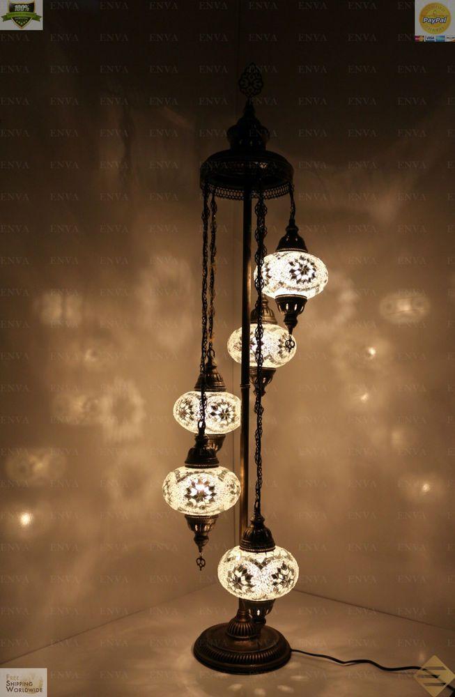 Turkish Morrocan Mosaic Floor Lamp Light Hand Made 5 Large Globe ...