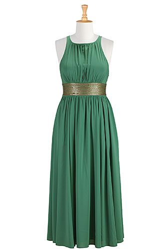 I <3 this Sequined waist crepe maxi dress from eShakti