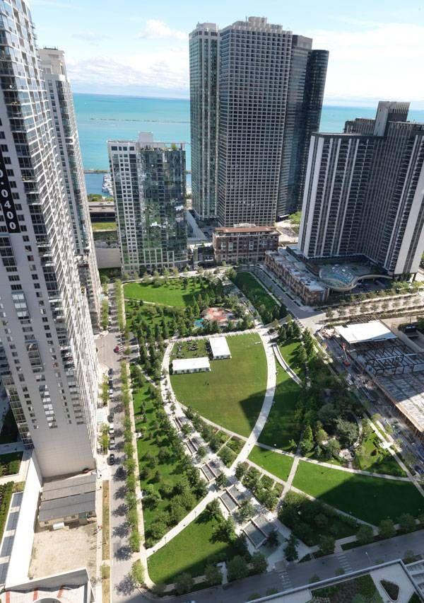 Landscape architecture the park at lakeshore east for Chicago landscape